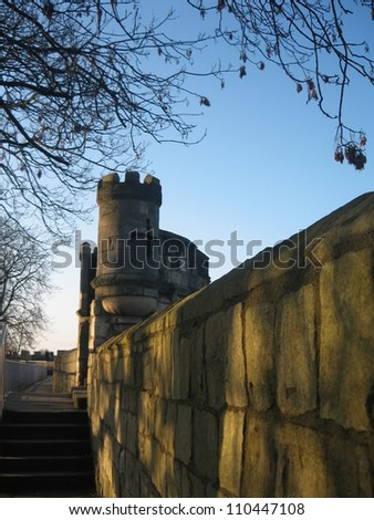 Fort on York city wall, York, England. - stock photo