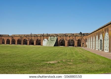 Fort Pulaski, built in Savannah, Georgia in the early 1800's. - stock photo