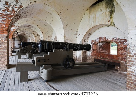 Fort Pulaski National Monument built 1829 to 1847, Confederate cannon guarding the main entrance to the fort - stock photo