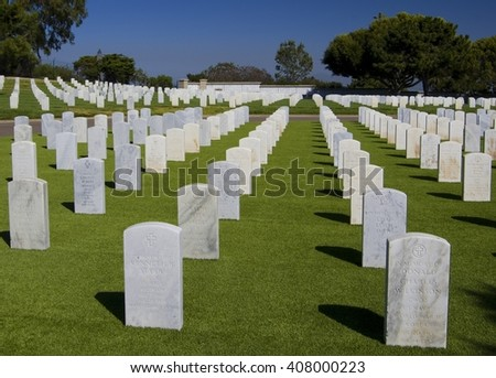 FORT ROSECRANS NATIONAL CEMETERY, SAN DIEGO - APRIL 17, 2016: White graves in Rosecrans National Cemetery, San Diego, California, USA
