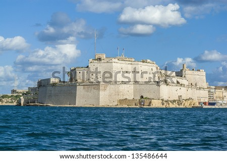 Fort Saint Angelo in Vittoriosa (Birgu), Malta, as seen from the Grand Harbour.