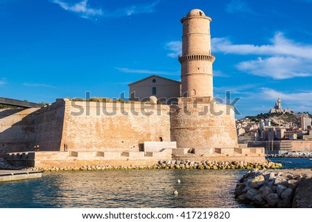 Fort Saint Jean in a summer day in Marseille, France. - stock photo