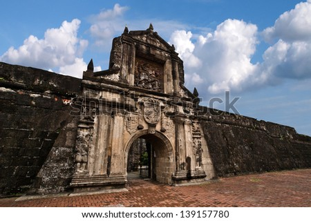 Fort Santiago,  Intramuros district of Manila , Philippines.Fort Santiago is a citadel which was first built by Spanish conquistador for the new established city of Manila. - stock photo