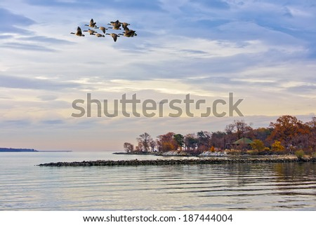 Fort Smallwood Park on the Chesapeake Bay in Maryland in Autumn - stock photo