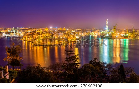 Fort St. Angelo and Dockyard Creek in Malta - stock photo
