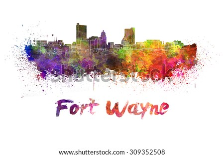 Fort Wayne skyline in watercolor splatters with clipping path - stock photo