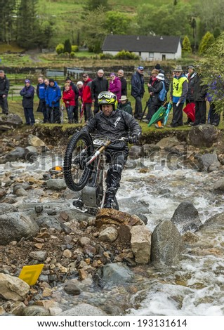 FORT WILLIAM, LOCHABER, SCOTLAND - 7 MAY: This is one of the participants within the Scottish Six Day Trial, SSTD, which is open to public viewing at Fort William, Scotland on 7 May, 2014.