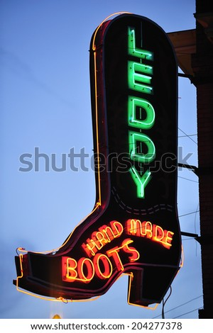 Fort Worth, Teas, USA, - March. 24. 2012: Cowboy boots store neon sign, at Fort Worth Stockyards Historic District, former livestock market, now main tourist attraction in Fort Worth, TX
