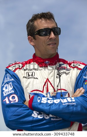 Fort Worth, TX - Jun 07, 2013:  Justin Wilson (19) takes to the track for a practice session for the Firestone 550 race at the Texas Motor Speedway in Fort Worth, TX. - stock photo