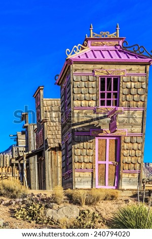 Fort Zion or the  Virgin Trading Post is just outside the town of Virgin, Utah and take you back to a mini old west town out of the 1950's. - stock photo