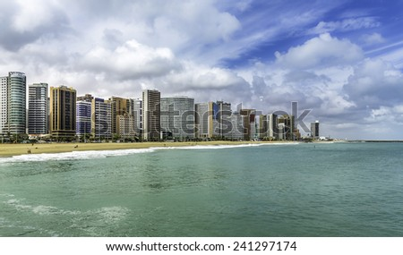 Fortaleza Beach with tall buildings in Ceara state, Brazil - stock photo