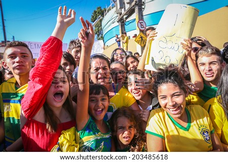 FORTALEZA BRAZIL - July 3, 2014: Fans standing outside the President Vargas Stadium during the Brazil team practice one day before the Quarter-Finals game against Colombia. NO USE IN BRAZIL.