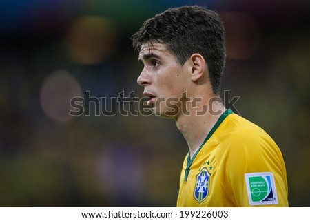 FORTALEZA, BRAZIL - June 17, 2014: Oscar of Brazil during the World Cup Group A  game between Brazil and Mexico at Estadio Castelao. No Use in Brazil.