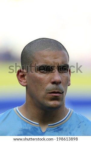 FORTALEZA, BRAZIL - June 14, 2014: Pereira during Uruguay�s National Anthem at the 2014 World Cup Group D game between Uruguay and Costa Rica at Castelao Stadium. No Use in Brazil.
