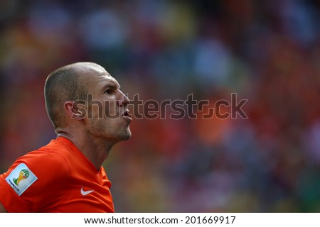 FORTALEZA, BRAZIL - JUNE 29, 2014: Robben of the Netherlands celebrate during the World Cup Round of 16 game between the Netherlands and Mexico in the Castelao stadium.  NO USE IN BRAZIL.