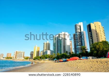 FORTALEZA, BRAZIL - NOVEMBER 1, 2014: Coast Line of Fortaleza, Ceara State, city of northeast of Brazil . - stock photo