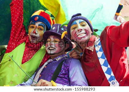 FORTALEZA, BRAZIL,?? SEPTEMBER 07: Young clowns in the streets of the City on September 07, 2011 in Fortaleza, Brazil.