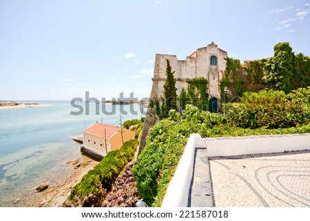 Forte Sao Clemente Castle and Mira River, Vila Nova de Milfontes, Alentejo Portugal - stock photo