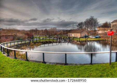 Forth and Clyde canal in the city of Glasgow, Scotland