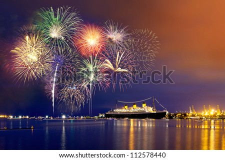 Forth of July fireworks at Long Beach, California. - stock photo
