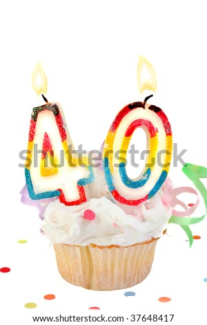 fortieth birthday cupcake with white frosting on a white background - stock photo