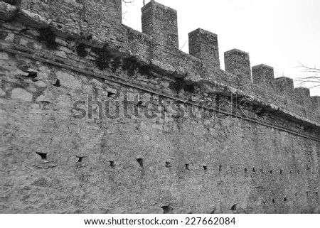 Fortification wall in San Marino republic. Black and white.