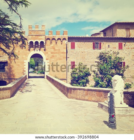 Fortification Wall Surrounding the Medieval Italian City of Montorio, Instagram Effect - stock photo