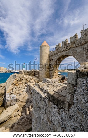 Fortifications and harbour of Rhodes town, Rhodes island, Dodecanese, Greece.