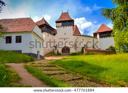 Fortified church in Viscri village, Transylvania, Romania protected by unesco heritage site