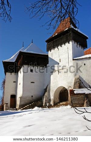 Fortified church of Viscri (Weisskirch in German, Szaszfeheregyhaza in Hungarian) in Transylvania, Romania. UNESCO heritage    - stock photo