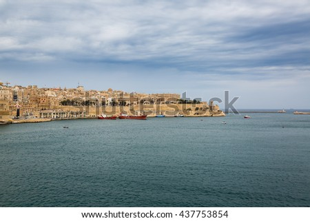 Fortified city of Valletta - view from Senglea, the island Malta - stock photo