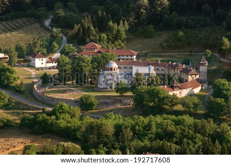 fortified Monastery Studenica Unesco World Heritage Sites, Serbia - stock photo