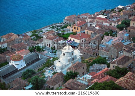 Fortified town of Monemvasia in Greece, top view. - stock photo