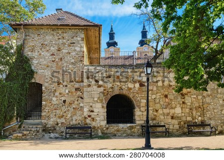 Fortified Wall and Lantern in Front of It - stock photo
