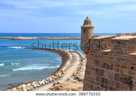 Fortified walls above the Bou Regreg river and Atlantic ocean, Kasbah of the Udayas, Rabat, Morocco - stock photo