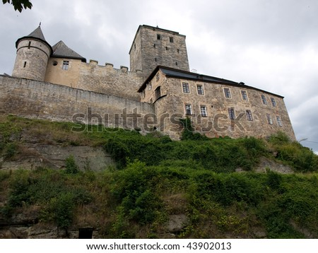 Fortified walls of large gothic castle Kost, Czech Republic