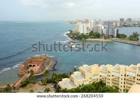 Fortin de San Geronimo de Boqueron (Fort San Geronimo) and Condado district aerial view, Santurce, San Juan, Puerto Rico - stock photo