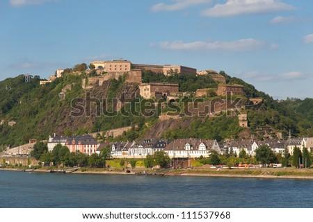 Fortress Ehrenbreitstein near Koblenz/Germany - stock photo