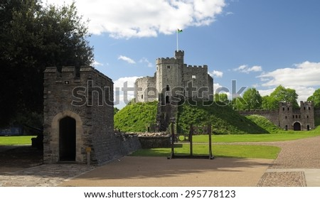 fortress in courtyard of Cardiff castle