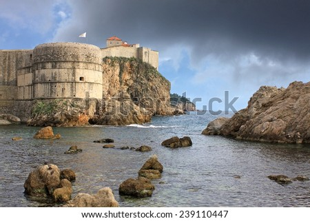 Fortress in Dubrovnik, Croatia. Fort Bokar is the key point in the defense of the Pila Gate.