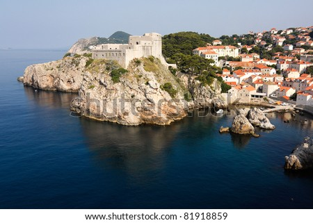 Fortress in Dubrovnik overlooking the Adriatic sea - stock photo