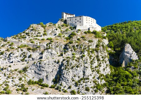 fortress in Entrevaux, Provence, France - stock photo