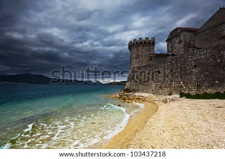 fortress in Korcula, Croatia - stock photo