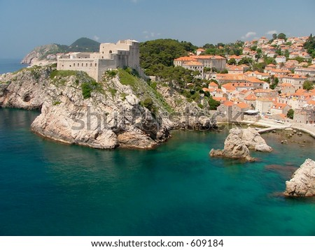 Fortress Lovrijenac which guards the northern side of Dubrovnik - stock photo