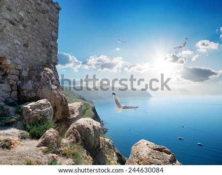 Fortress near sea at beautiful sunny day - stock photo