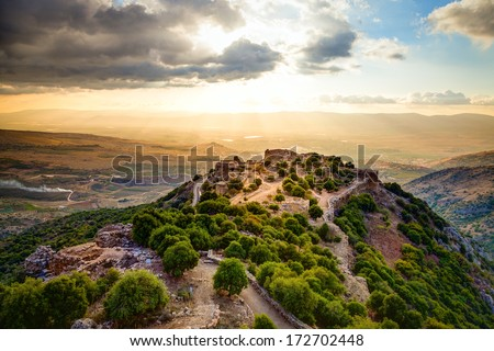 Fortress Nimrod in Israel - stock photo