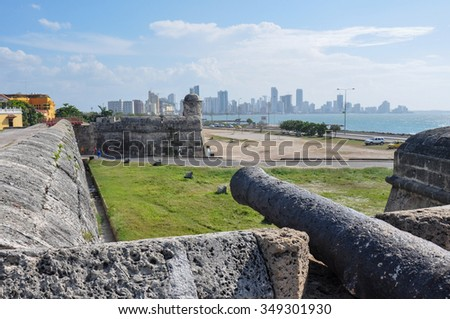 Fortress of Carthagena, Colombia. - stock photo