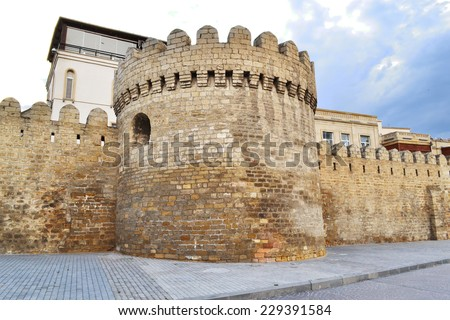Fortress of the Old City Baku - stock photo