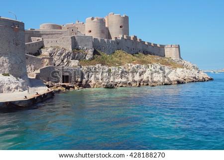 Fortress on sea coast. Chateau Iff, Marseille, France - stock photo