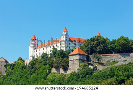 Fortress on the hill in Bratislava, Slovakia - stock photo
